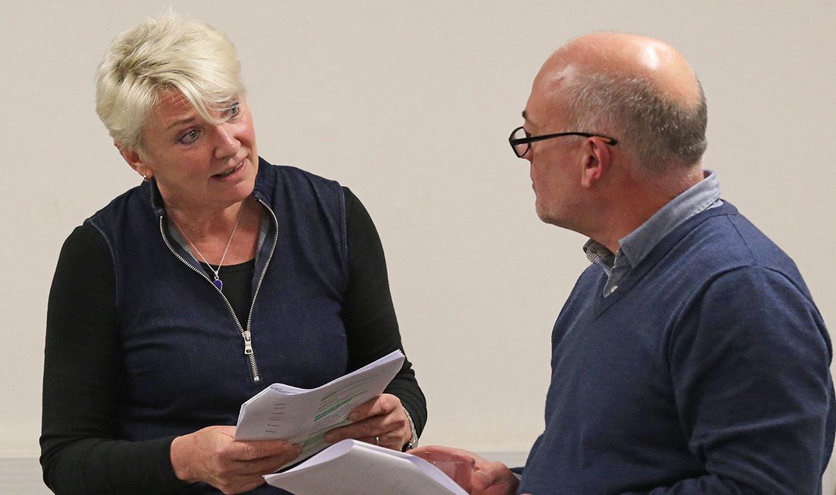 Scenes from actors reading scripts